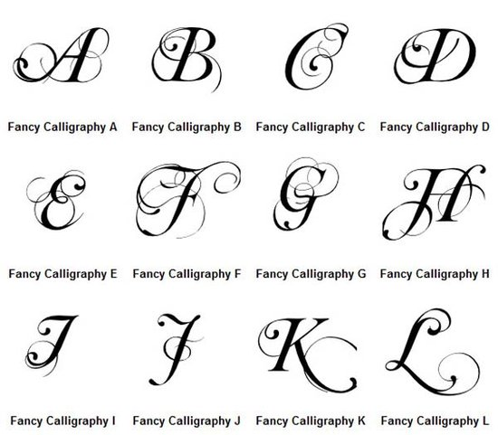 Small alphabets calligraphy