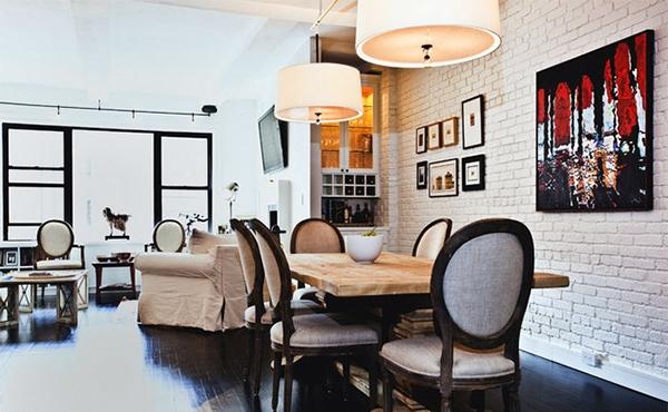 Brick wall dining room